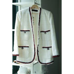 Zara White Tweed Jacket